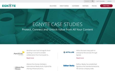 Screenshot of Case Studies Page egnyte.com - Customer Case Studies for Egnyte Enterprise File Sharing - captured Feb. 28, 2016