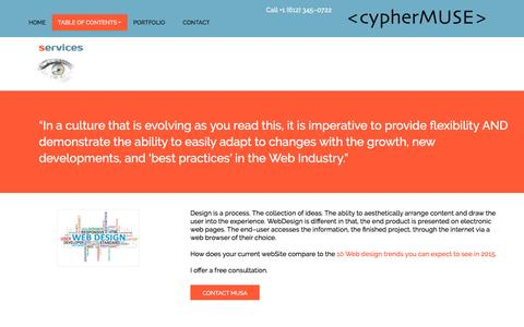 Screenshot of Services Page cyphermuse.com - cypherMuse φ Services - captured Jan. 2, 2017