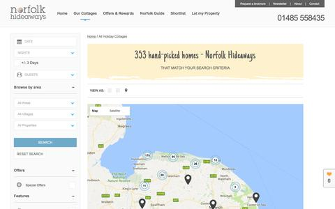 Screenshot of Maps & Directions Page norfolkhideaways.co.uk - 353 Unique, Hand-Picked Holiday Cottages - captured June 14, 2017