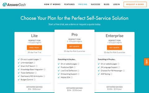 Screenshot of Pricing Page answerdash.com - Choose Your Plan for the Perfect Self-Service Solution — AnswerDash - captured Aug. 18, 2019