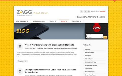Screenshot of Blog zaggphonerepair.com - Zagg Phone Repair - Broken iPhone, Cracked iPad Screen, Cell Phone Repair - captured Oct. 27, 2014
