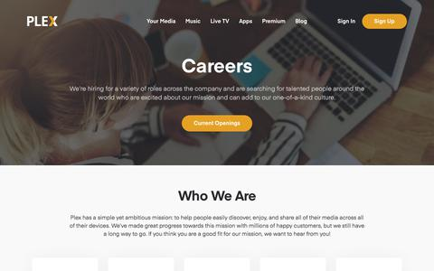 Screenshot of Jobs Page plex.tv - Careers | Plex - captured July 20, 2019
