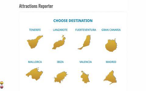 Screenshot of Home Page attractionsreporter.com - Attractions Reporter - Choose destination - captured Nov. 22, 2018