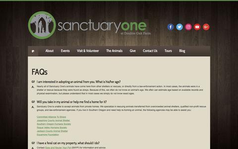 Screenshot of FAQ Page sanctuaryone.org - FAQs - Sanctuary One - captured July 27, 2018