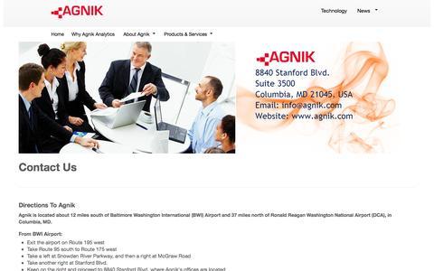 Screenshot of Contact Page agnik.com - Contact Us - captured Oct. 4, 2014