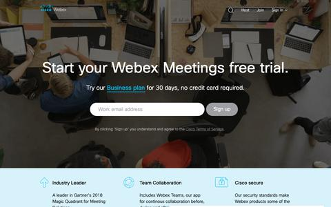 Screenshot of Trial Page webex.com - Webex Free Trial | Try Webex for Free for 30-Days - captured March 1, 2019