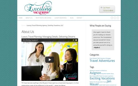 Screenshot of About Page excitingvacations.net - Luxury Travel Planning Agency | Exciting Vacations, LLC - captured Oct. 3, 2014