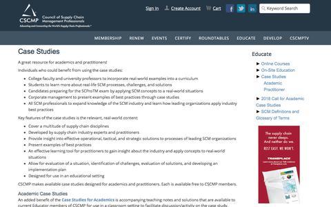 Screenshot of Case Studies Page cscmp.org - Case Studies - captured July 15, 2018