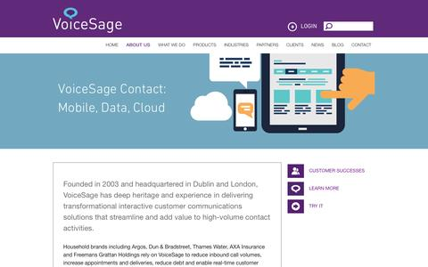 Screenshot of About Page voicesage.com - VoiceSage | Our Story | Customer Messaging | Contact Centre Solutions - captured Jan. 11, 2016