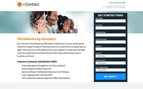 Screenshot of Landing Page incontact.com - inContact - Cloud Contact Center Software - captured May 4, 2016