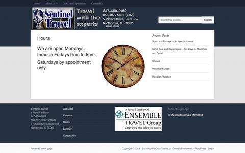Screenshot of Hours Page sentineltravel.com - Hours - Sentinel Travel, Northbrook, IL - captured Sept. 30, 2014
