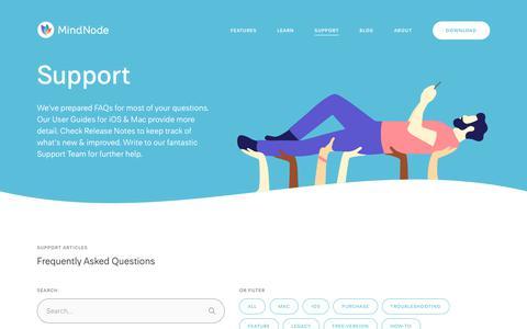 Screenshot of Support Page mindnode.com - Support - MindNode - captured Aug. 9, 2019