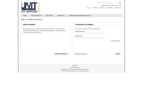 Screenshot of Login Page unit.be - Customer Login - captured Oct. 9, 2014