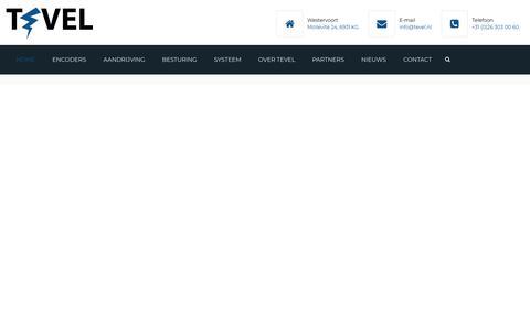 Screenshot of Home Page tevel.nl - Tevel – Machinebouwcomponenten & Systeemoplossingen - captured Nov. 19, 2018