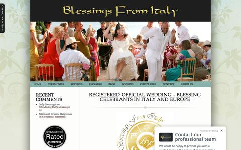 Screenshot of Home Page blessingsfromitaly.com - Registered Official Wedding – Blessing Celebrants in Italy and Europe » Blessings from Italy – The Official Website for Wedding Officiant and Blessing Ceremonies in Italy - captured June 1, 2017