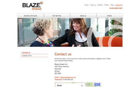 Screenshot of Contact Page blazeahead.co.uk - Contact Blaze Ahead - captured Oct. 5, 2014