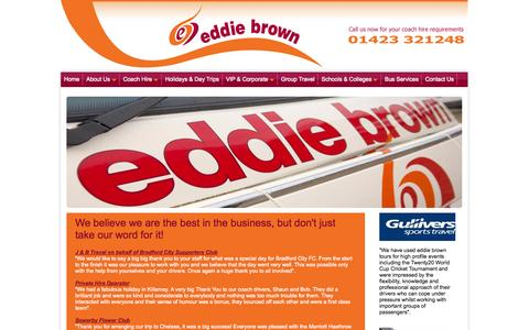 Screenshot of Testimonials Page eddiebrowntours.com - Best in the business and highly praised by a range of clients including schools, private group organisers, sports teams and conference organisers - captured Sept. 30, 2014