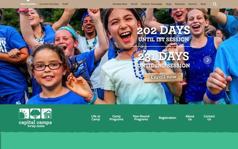 Screenshot of Home Page capitalcamps.org - Capital Camps - captured Dec. 6, 2015