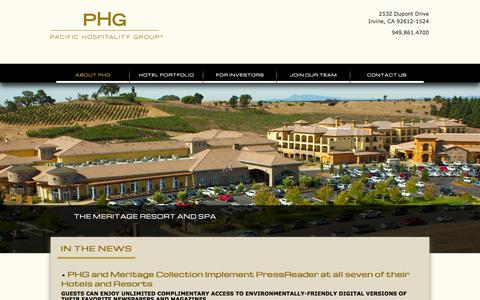 Screenshot of Press Page pacifichospitality.com - Top Hotel Management And Investors | News | Pacific Hospitality Group - captured Oct. 1, 2014