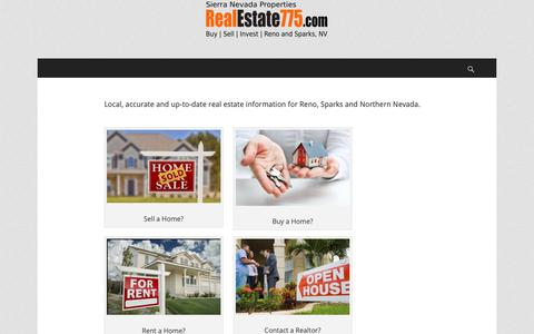 Screenshot of Home Page realestate775.com - Real Estate 775 | Reno Sparks |Buy|Sell|Invest - captured Oct. 20, 2018