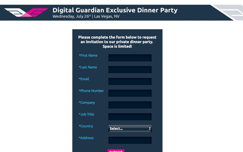 Request an Invitation to Digital Guardian's Private Dinner Party at Black Hat