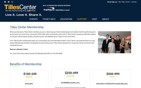 Screenshot of Support Page tillescenter.org - Become A Member - TILLES CENTER - captured Sept. 23, 2018
