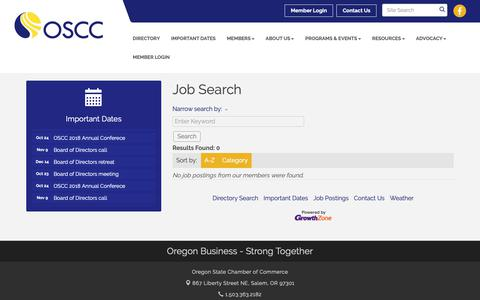 Screenshot of Jobs Page oregonchamber.org - Job Search - Oregon State Chamber of Commerce, OR - captured Oct. 19, 2018