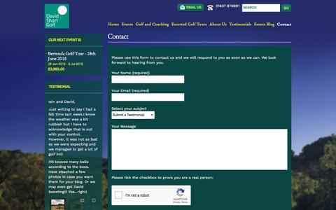 Screenshot of Contact Page davidshortgolf.co.uk - David Short Golf Breaks - captured June 29, 2018