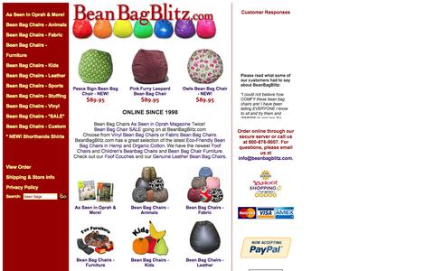 Screenshot of Home Page beanbagblitz.com - Bean Bag Blitz | Oprah Bean Bags | Online Since 1998 - captured Sept. 30, 2014