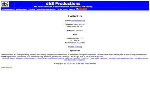 Screenshot of Contact Page dbs-sar.com - Contact dbS Productions - captured Oct. 5, 2014