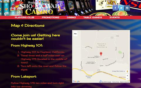 Screenshot of Maps & Directions Page shokawah.com - Map & Directions | Hopland Sho-Ka-Wah Casino - captured Jan. 1, 2016