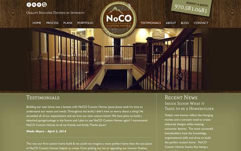 Screenshot of Testimonials Page nococustomhomes.com - Testimonials - NoCO Custom Homes - captured Oct. 7, 2014