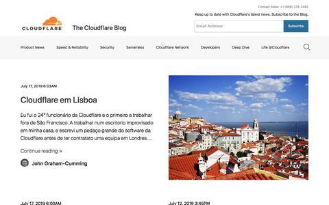 Screenshot of Blog cloudflare.com - The Cloudflare Blog - captured July 17, 2019