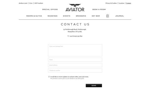 Screenshot of Contact Page aviatorbytag.com - Contact | Luxury hotel Surrey / Hampshire borders - captured Feb. 6, 2016