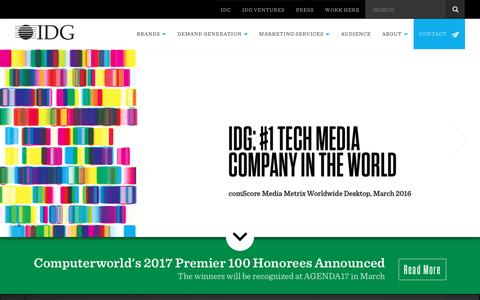 Screenshot of Home Page idg.com - IDG: #1 Tech Media Company in the World - captured Nov. 16, 2016