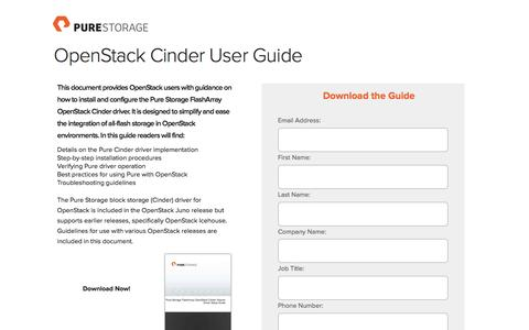 Screenshot of Landing Page purestorage.com - OpenStack Cinder User Guide - captured March 15, 2016