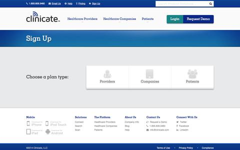 Screenshot of Signup Page clinicate.com - Sign Up - Clinicate - captured Oct. 28, 2014