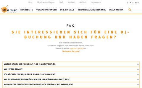 Screenshot of FAQ Page life-is-music.de - FAQ - life is music: DJ Booking Agentur Aachen Köln Düsseldorf - captured Nov. 16, 2016