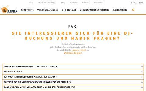Screenshot of FAQ Page life-is-music.de - FAQ - life is music: DJ Booking Agentur Aachen Köln Düsseldorf - captured Nov. 16, 2016