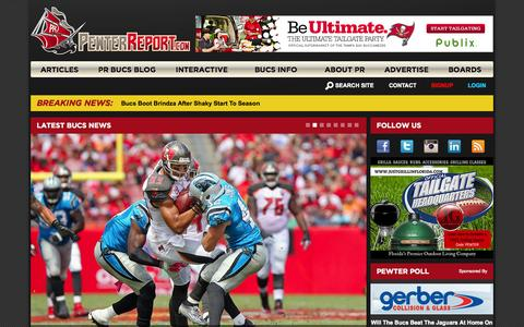 Screenshot of Home Page pewterreport.com - Pewter Report | Delivering the Bucs Latest News | A Buccaneers Blog - captured Oct. 5, 2015