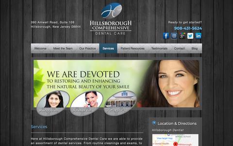Screenshot of Services Page hcdentalcare.com - Services - Hillsborough Comprehensive Dental Care, Bhairavi Sheth DMD - captured Sept. 28, 2018