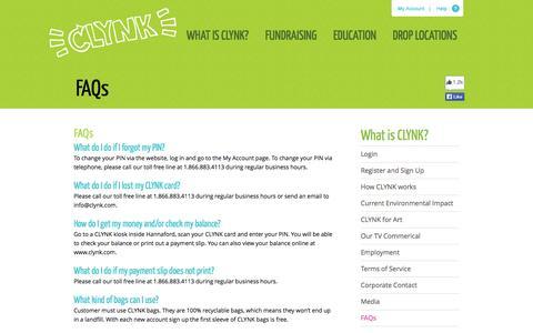 Screenshot of FAQ Page clynk.com - FAQs - captured Sept. 26, 2014