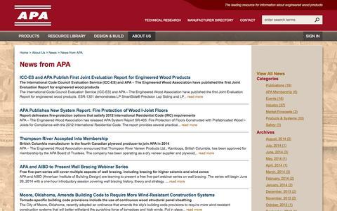Screenshot of Press Page apawood.org - News from APA - APA – The Engineered Wood Association - captured Nov. 2, 2014