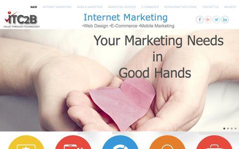 Screenshot of Home Page itc2b.com - •Web Design •E-Commerce •Mobile Marketing - captured May 28, 2017