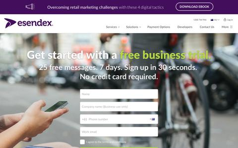 Screenshot of Trial Page esendex.com.au - Start your free trial now | www.esendex.com.au - captured May 7, 2019
