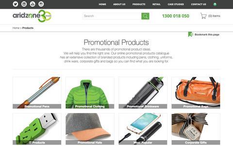 Screenshot of Products Page aridzone.com.au - Promotional Product Range | Arid Zone - captured Dec. 9, 2018