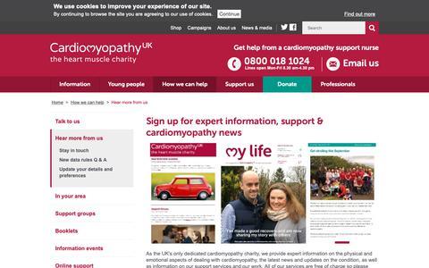 Screenshot of Signup Page cardiomyopathy.org - Hear more from us - Cardiomyopathy UK - captured Sept. 27, 2018