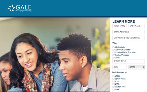 Screenshot of Landing Page cengage.com - Empower Curious Minds with Gale - captured Sept. 16, 2017