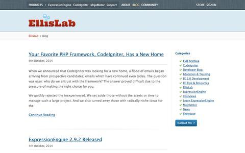 Screenshot of Blog ellislab.com - Blog /EllisLab - captured Oct. 28, 2014