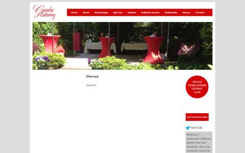 Screenshot of Site Map Page gooische-catering.nl - Sitemap | Gooische Catering | Buffetten | High Tea | Borrels | Borrelhapjes | Feesten | Diners - captured Sept. 30, 2014